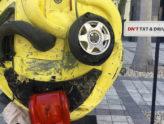 Empresa cria escultura de Emoji assustador para alertar o envio de SMS durante a condução!
