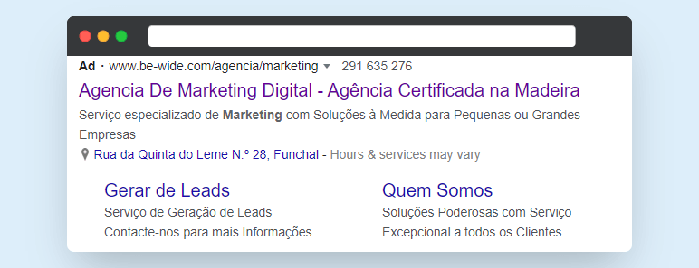 Example of BeWide Ad on Google with Extensions