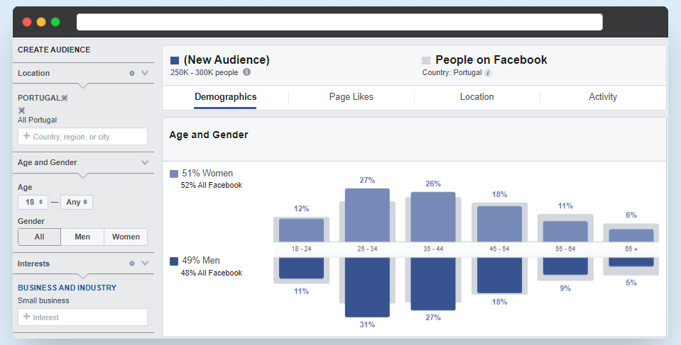 Example of Using the Facebook Audience Insights Tool